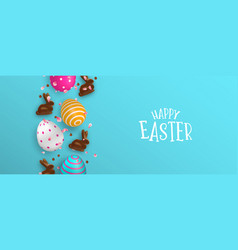 easter banner chocolate bunny and color eggs vector image