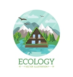 Ecology wooden house and nature vector