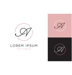 elegant letter a line curve logo vector image