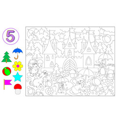 Exercise for young children with number 5 logic vector