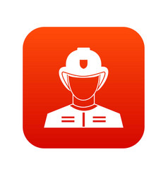 firefighter icon digital red vector image