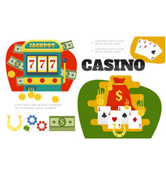 flat casino colorful composition vector image