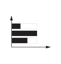 Flat icon in black and white economic graph vector image