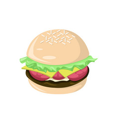 Fresh big burger food cafe vector