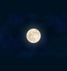 full yellow moon with star isolated on dark night vector image