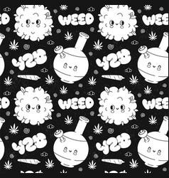 Funny cute retro weed marijuana vintage seamless vector