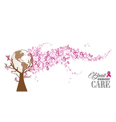 Global Breast cancer awareness concept tree EPS10 vector