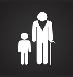 Grand parent with child on black background vector