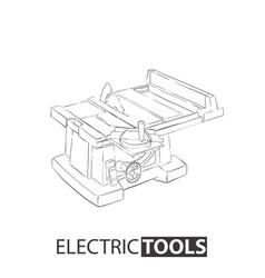 hand drawn table saw vector image