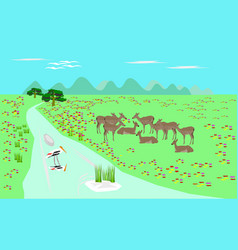Herd of antelope on green pasture streams vector