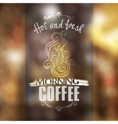 Hot fresh coffee showcase mockup vector image