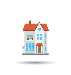 house in flat style on white background vector image