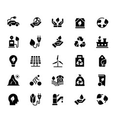 icon set ecology in flat style vector image