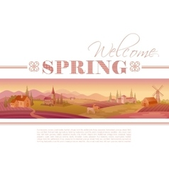 Idyllic farming landscape flayer design with text vector