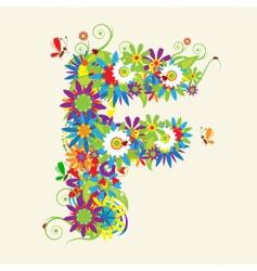 letter F floral design vector image