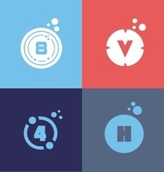 Letter number flat logo set vector