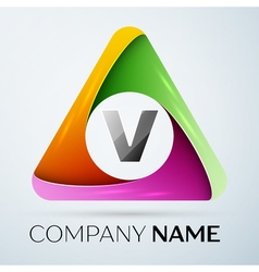 Letter V logo symbol in the colorful triangle vector