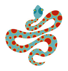 Light blue snake with orange spots icon isolated vector