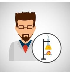 Male scientist laboratory processing icon vector
