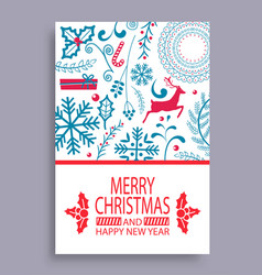 Marry christmas and happy new year bright postcard vector