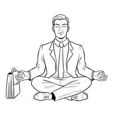meditating businessman coloring vector image