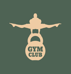 Muscular man posing bodybuilding emblem vector