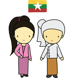Myanmar traditional costume vector image