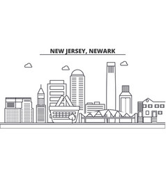 New jersey newark architecture line skyline vector