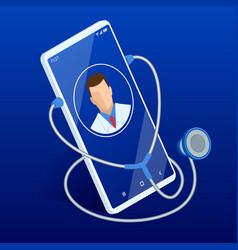 Online medical service call a doctor using and vector