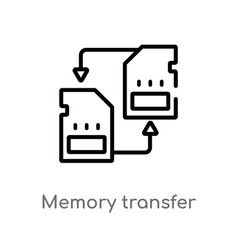 Outline memory transfer icon isolated black vector