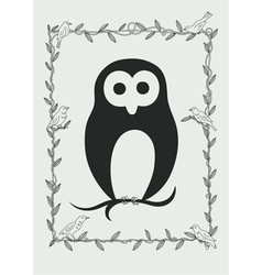 Owl bird in frame vector