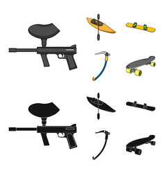 Paintball marker kayak with a paddle snowboard vector