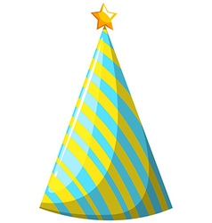 Party hat with yellow and blue striped vector image