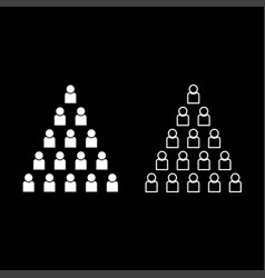 people pyramid icon set white color flat style vector image
