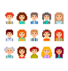 Pixel male and female faces avatars vector