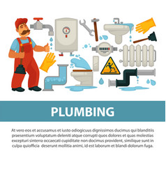 Plumbing service poster of bathroom toilet vector