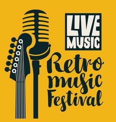 Poster for festival live retro music vector