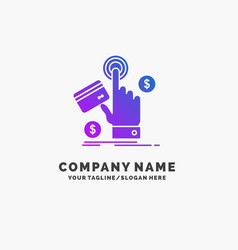 Ppc click pay payment web purple business logo vector