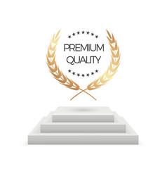 premium quality realistic podium and laurel vector image