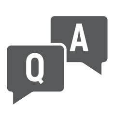Question and answer glyph icon e learning vector