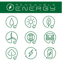 renewable energy icons set with an editable stroke vector image