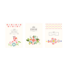 retro cards set greeting cards romantic wedding vector image