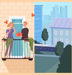 romantic couple on balcony man hold gift happy vector image