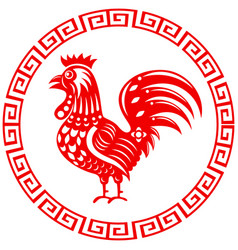 rooster year chinese zodiac symbol in round frame vector image
