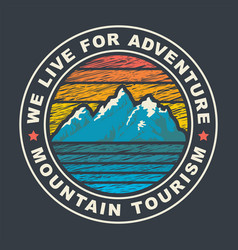 round travel banner on a mountain tourism theme vector image