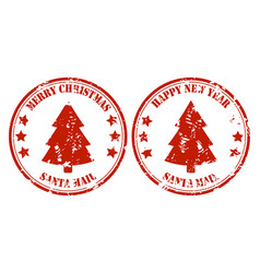 santa post mail rubber stamp with xmas tree vector image