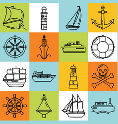 Sea collection of ship and nautical icons in line vector