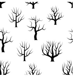 seamless black and white curved trees vector image