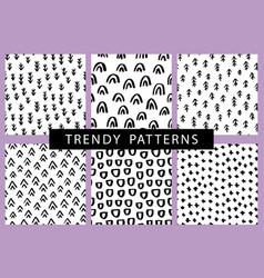 seamless pattern set with brush doodles vector image