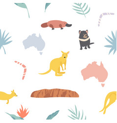 seamless pattern with koalas and leaves vector image